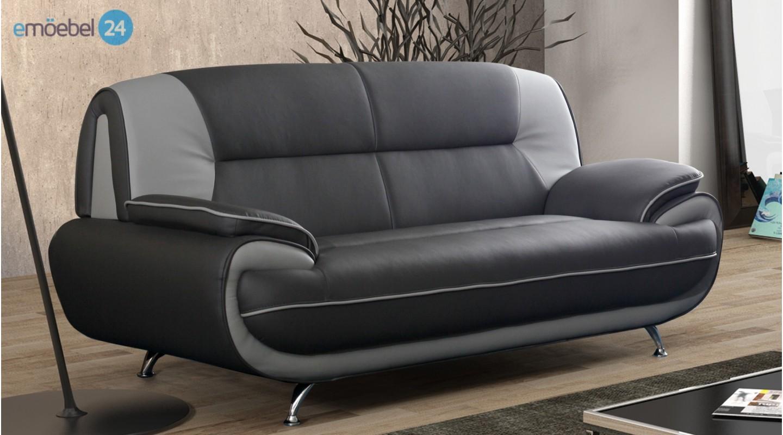 Onyx 3 sitzer sofa couch industrieleder pu kunstleder   emoebel24