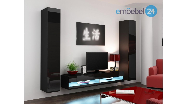 Wohnwand vigo system 4 weiss schwarz hochglanz   emoebel24