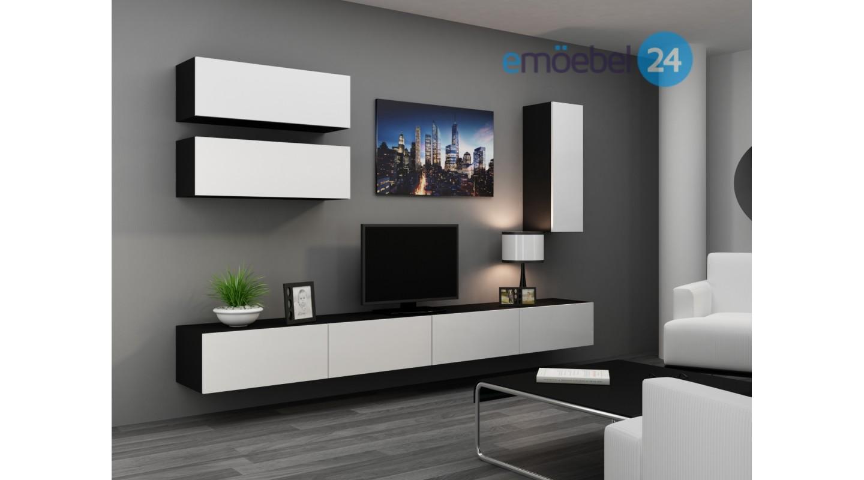 Wohnwand vigo system 22 schwarz weiss hochglanz   emoebel24