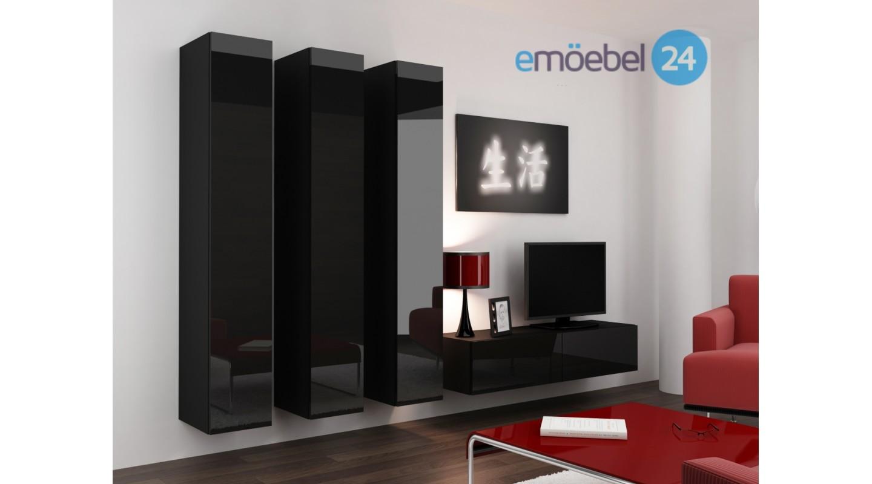 Wohnwand vigo system 25 schwarz weiss hochglanz   emoebel24