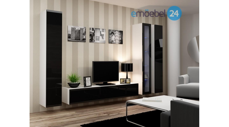 Wohnwand vigo system 30 weiss schwarz hochglanz   emoebel24