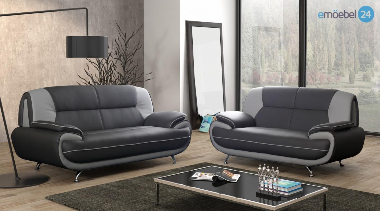 00001 Onyx Set 3 2 Sofa Couch Pu Industrieleder Kunstleder Emoebel24