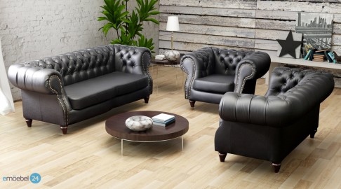 CHESTERFIELD NEU SET 3 2 1 SOFA COUCH ECHTLEDER PU
