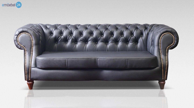 Chesterfield Neu 3 Sitzer Sofa Couch Echtleder Pu Schwarz Emoebel24
