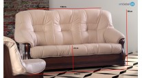 LIVIANI 3-2-1 SET SOFA COUCH ECHTLEDER ANTIKSTIL