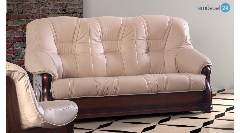 Liviani 3 Sitzer Sofa Couch Echtleder Antikstil Emoebel24
