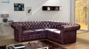 CHESTERFIELD ECKSOFA ECHTLEDER ANTIKSTIL PU