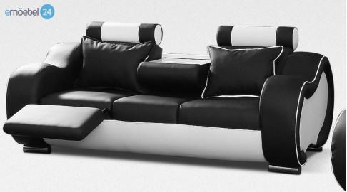 alaska 3 sitzer couch sofa kunstleder schwarz weiss. Black Bedroom Furniture Sets. Home Design Ideas