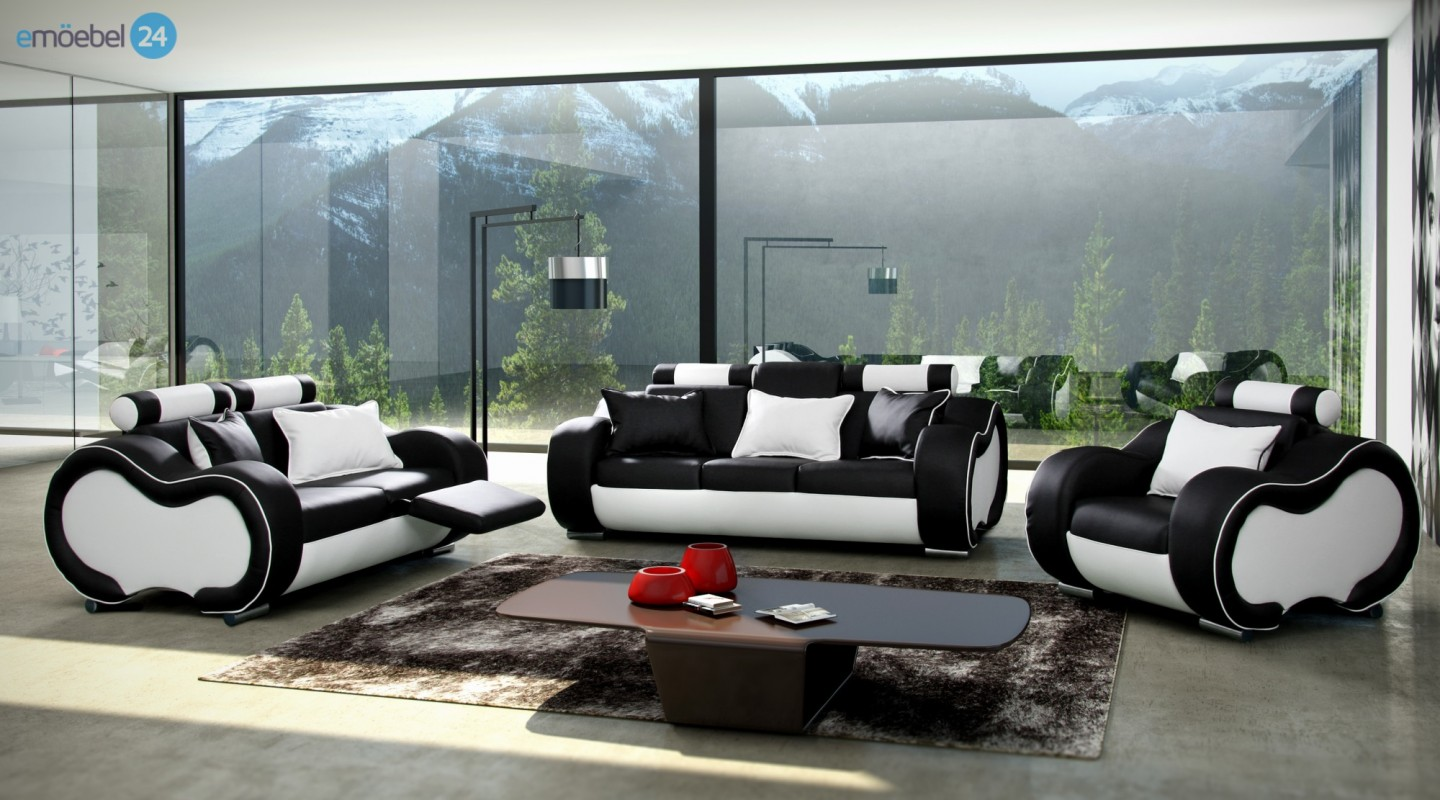 alaska set 3 2 1 couch sofa echtleder pu schwarz weiss. Black Bedroom Furniture Sets. Home Design Ideas