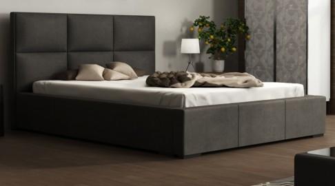 Majorka Bett Kunstleder Webstoff Khaki Grau 140X200 Cm - Emoebel24