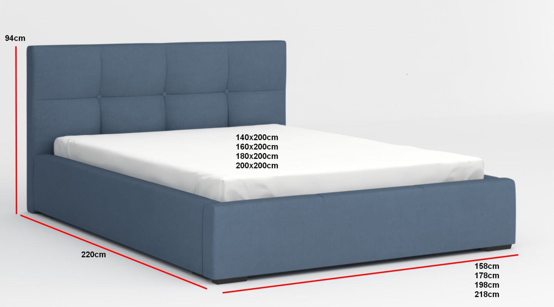 Brilliant Bettkasten 140x200 Beste Wahl Nivela Bett Echtleder Kunstleder Cm Blau