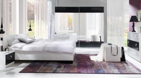 Schlafzimmer Lux Stripes Bett Kommode Nachttisch Schrank Schwarz