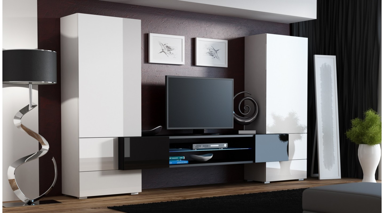 toris wohnwand wandboard hochglanz wei schwarz emoebel24. Black Bedroom Furniture Sets. Home Design Ideas