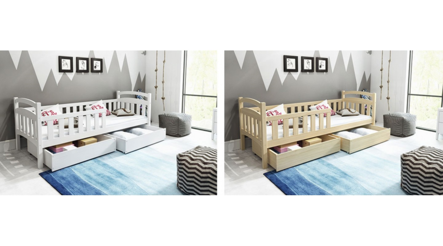 bambino 6 bett einzelbett kinderbett holz weiss emoebel24. Black Bedroom Furniture Sets. Home Design Ideas