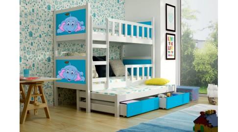 Etagenbett Weiß : Bett pinokio 3 kinderbett etagenbett weiss blau emoebel24