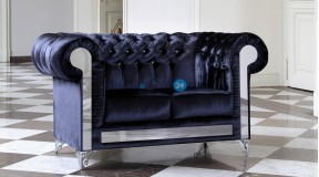 CHESTERFIELD GLANZ SOFA 2SITZER KOLLEKTION GLAMOUR