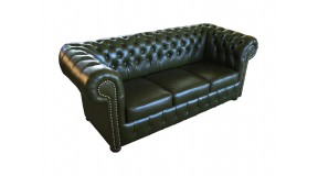 CHESTERFIELD 3-SITZER COUCH ECHTLEDER ANTIKSTIL