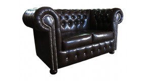 CHESTERFIELD 2-SITZER COUCH ECHTLEDER ANTIKSTIL