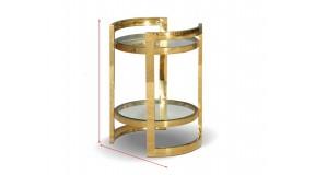 KAFFEETISCH CHX-12032-00 MODERN BAROCK GLASS GLAMOUR ROSTFREIER EDELSTAHL GOLD