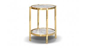 KAFFEETISCH CHX-12029-00 MODERN BAROCK GLASS GLAMOUR ROSTFREIER EDELSTAHL GOLD