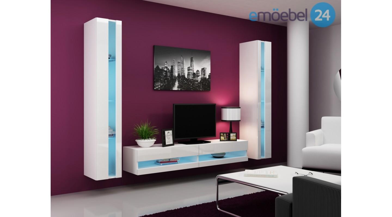 wohnwand vigo system 3 weiss schwarz hochglanz emoebel24. Black Bedroom Furniture Sets. Home Design Ideas