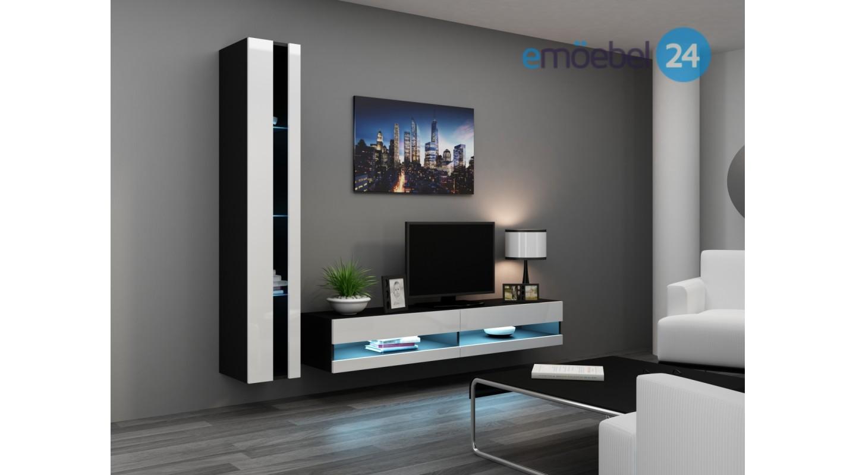 wohnwand vigo system 8 weiss schwarz led emoebel24. Black Bedroom Furniture Sets. Home Design Ideas