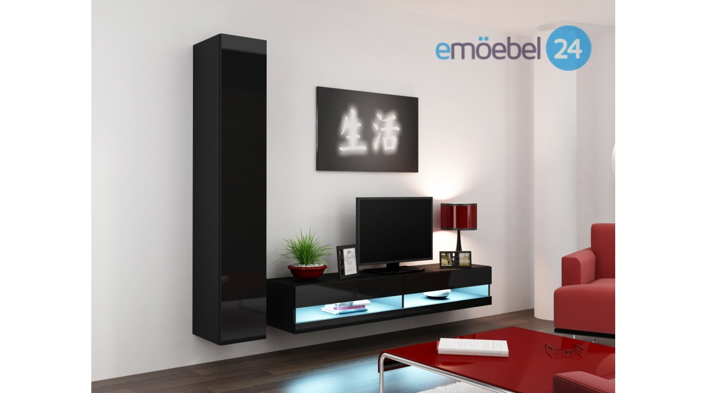 wohnwand vigo system 9 schwarz led hochglanz emoebel24. Black Bedroom Furniture Sets. Home Design Ideas