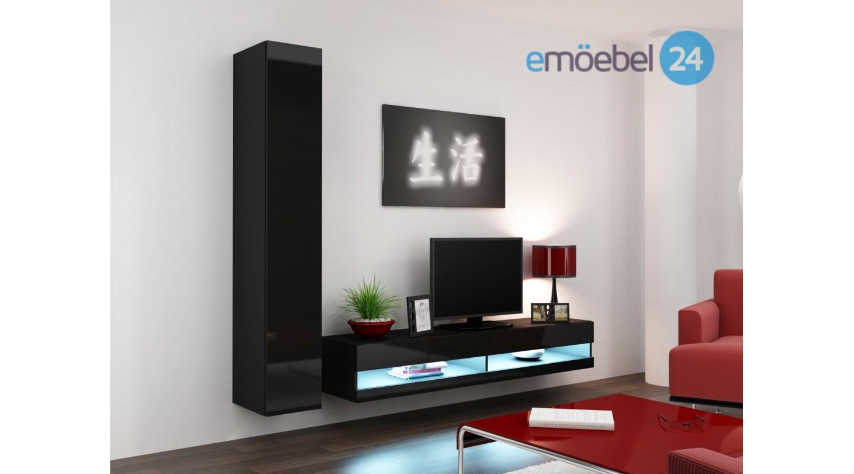 wohnwand vigo system 9 schwarz led hochglanz - emoebel24