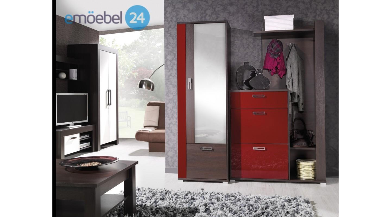 Wohnwand Fox Garderobe Vorzimmer Rot Braun Hochglanz Emoebel24
