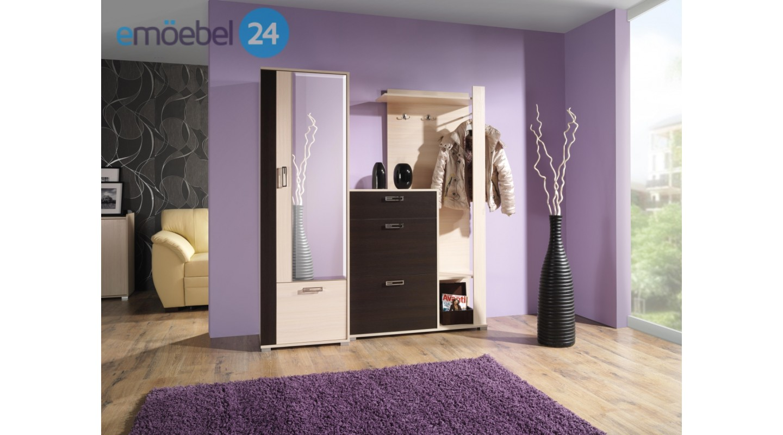 Wohnwand Fox Garderobe Vorzimmer Beige Braun Hochglanz Emoebel24