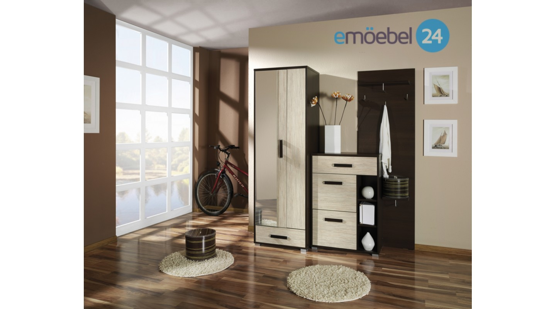 Wohnwand Porto Garderobe Vorzimmer Beige Hochglanz Emoebel24